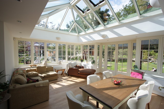 Transitional family and games room in an orangery